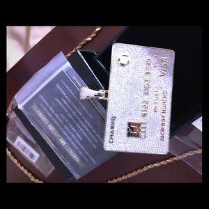 Visa18 karat gold charm w/ 14 k gold 18 inch rope